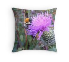 Bumble Bee on the Thistle Throw Pillow