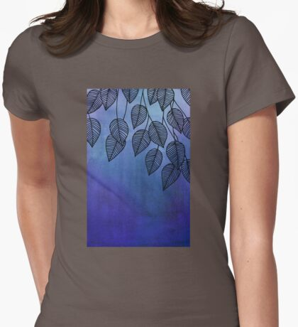 Midnight Blue Garden - watercolor & ink leaves Womens Fitted T-Shirt