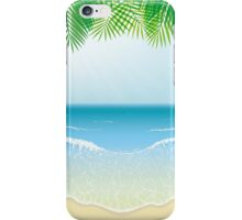 Beach, Sea Waves and Palm Leaves iPhone Case/Skin
