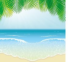Beach, Sea Waves and Palm Leaves by amovitania