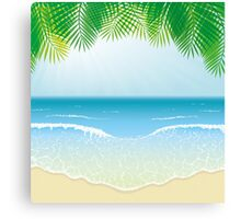 Beach, Sea Waves and Palm Leaves Canvas Print