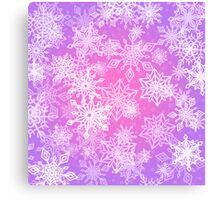 Chaotic Snowflakes on Lilac Background Canvas Print