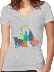 summer woodland Women's Fitted V-Neck T-Shirt