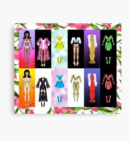 Kiki and Niki Paper doll Set Canvas Print