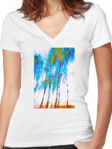 'Abstract Trees' Women's Fitted V-Neck T-Shirt