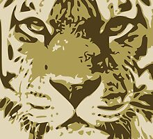 Tiger head in three colors by JoAnnFineArt