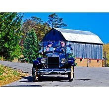 Blue Ford with Yellow Wheels Photographic Print