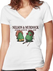 Nelson & Murdock: Avocados at Law Women's Fitted V-Neck T-Shirt
