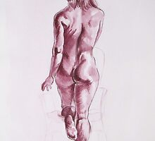Nude Woman-India Ink-Burgundy by alexisjmichel