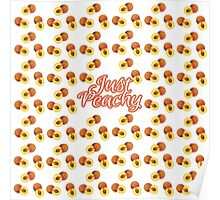 """Just Peachy"" Typography on Peach Pattern Poster"
