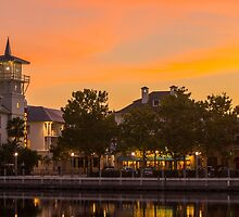 Orange Sunset over Celebration Florida by jjacobs2286