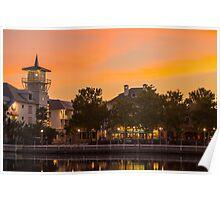 Orange Sunset over Celebration Florida Poster