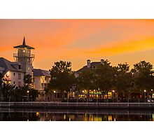 Orange Sunset over Celebration Florida Photographic Print