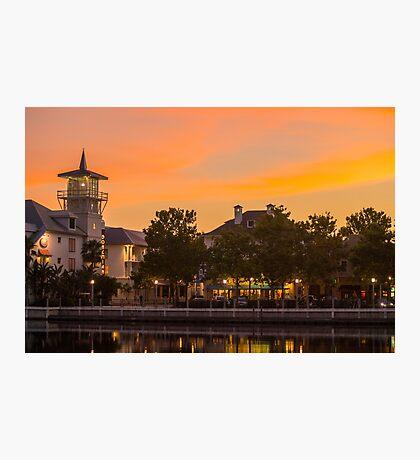 Orange Sunset over Celebration Florida Photographic Print