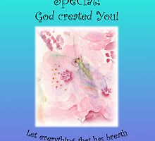 "Greeting Card Green Lacewing on Prunus Blossom ""You are Special"" Psm 150:6 by bronspst"