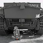 Young girl with poppy flower under rear of army tank by Dave P