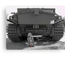 Young girl with poppy flower under rear of army tank Canvas Print