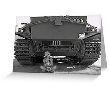 Young girl with poppy flower under rear of army tank Greeting Card