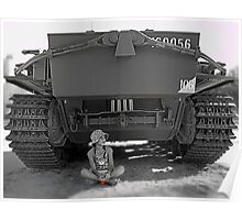 Young girl with poppy flower under rear of army tank Poster