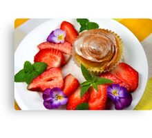 Sweet Muffin With Strawberry Canvas Print