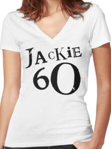Jackie 60 Classic Black Logo on White  Women's Fitted V-Neck T-Shirt