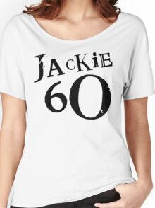 Jackie 60 Classic Black Logo on White  Women's Relaxed Fit T-Shirt