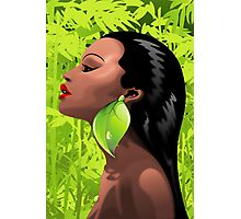 Woman African Beauty and Bamboo Photographic Print