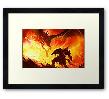 Warrior Facing Dragon Framed Print