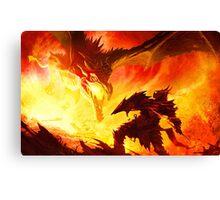 Warrior Facing Dragon Canvas Print