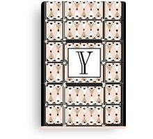 1920s Pink Champagne Gatsby Monogram letter Y Canvas Print