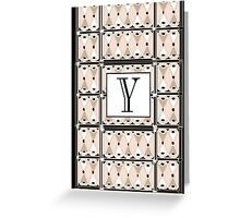 1920s Pink Champagne Gatsby Monogram letter Y Greeting Card