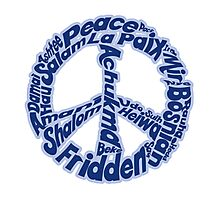 Blue peace sign in different languages Photographic Print