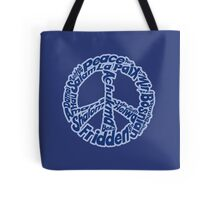 Blue peace sign in different languages Tote Bag