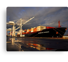 Container Ship in Sunset Canvas Print