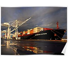 Container Ship in Sunset Poster