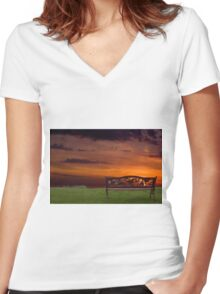 Sunrise on the Bay of Fundy, Nova Scotia Women's Fitted V-Neck T-Shirt
