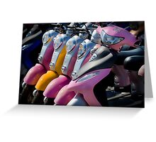 The Twins - Lovely group of colorful scooters on the beach Greeting Card