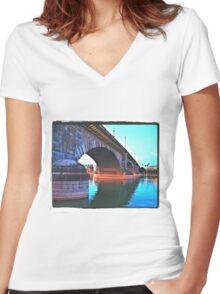 Sunday Morning At The London Bridge Women's Fitted V-Neck T-Shirt