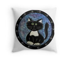 Black and White Tuxedo Kitty Throw Pillow