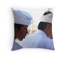 Two Balinese men at a temple ceremony  Throw Pillow