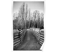 Footbridge, Hartham, Hertford - Hertfordshire (Black & White) Poster