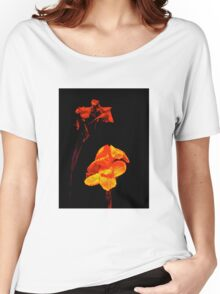 Canna Lilies on Black Women's Relaxed Fit T-Shirt