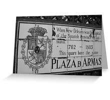 Plaza D Armas- New Orleans, Louisiana Greeting Card