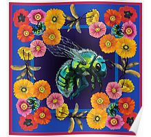 Green Fly with Flowers Poster