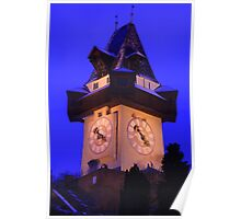 Clock Tower of Graz in Christmas time Poster