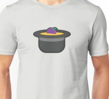 A Single Plum, Floating in Perfume, Served in a Man's Hat Unisex T-Shirt
