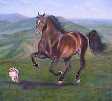 The Race---Retired racehorse and Jack Russell friend by Jean Farquhar