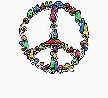 Peace symbol made of mushrooms. Unisex T-Shirt