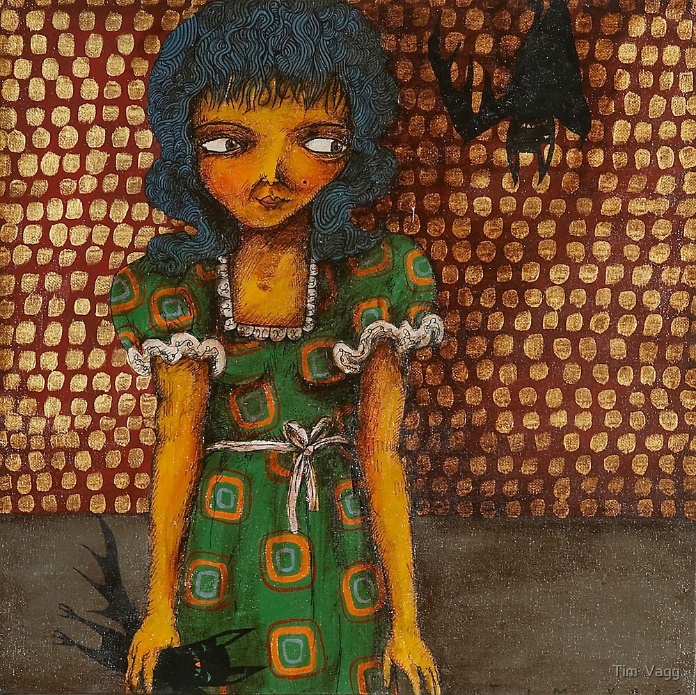 Girl and hanging bat by Tim  Vagg