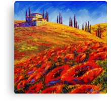 Tuscany Rolling Poppy Hills Canvas Print